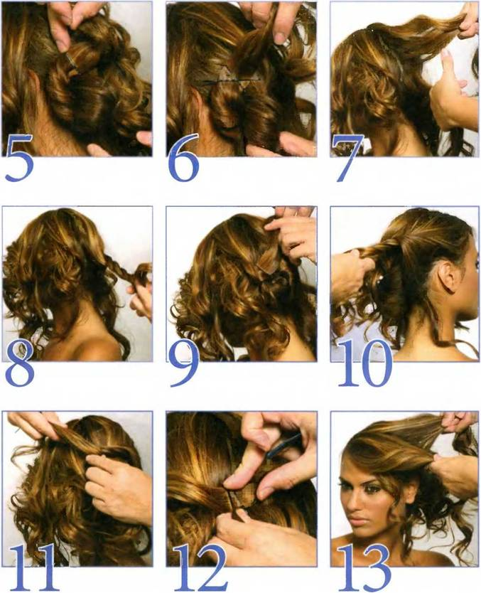 Причёски для длинных вьющихся волос своими руками